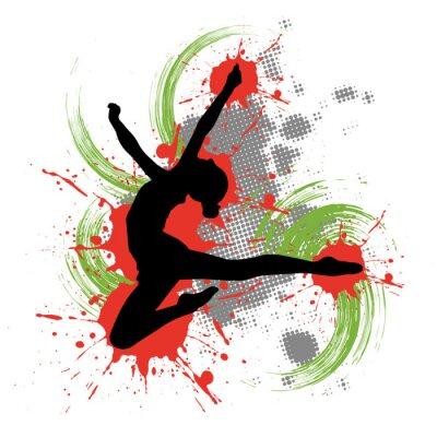 Canvas print Tänzerin vor buntem Hintergrund mit Farbspritzern