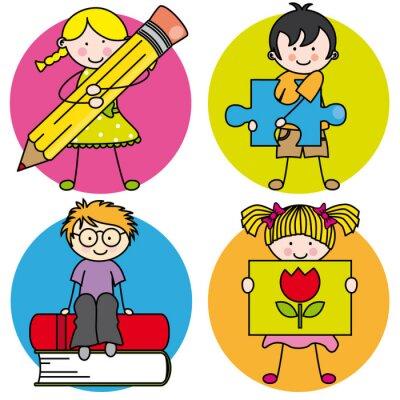 Canvas print Tarjeta aprender a pintar, escribir, leer, jugar