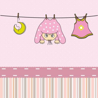 Canvas print Tarjeta nacimiento bebe niña
