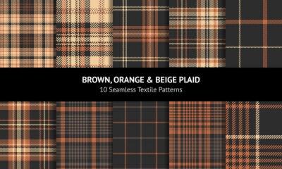 Canvas print Tartan plaid pattern set in brown, orange, beige. Seamless dark herringbone check vector graphics for autumn winter flannel shirt, skirt, scarf, throw, bag, other modern fashion fabric design.