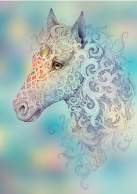 Canvas print Tattoo, beautiful horse head with a mane