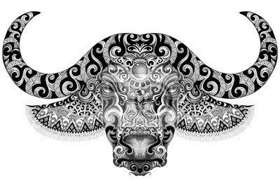 Tattoo, bull, buffalo head with horns