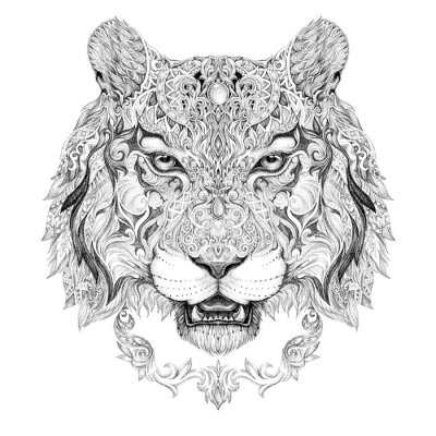 Canvas print Tattoo, graphics head of a tiger