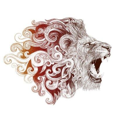 Canvas print Tattoo head grinning lion