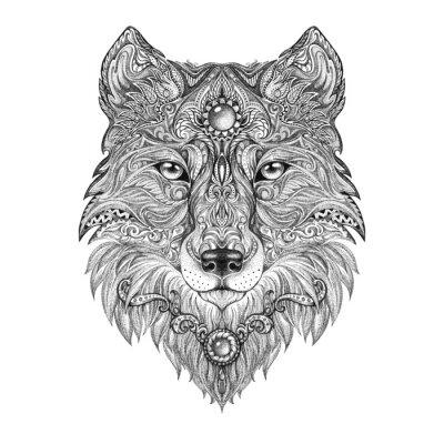 Canvas print Tattoo head wolf wild beast of prey