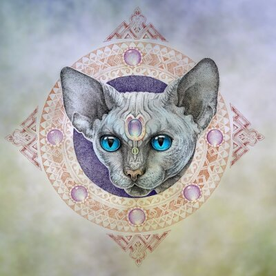 Canvas print Tattoo, the head cats in the circle