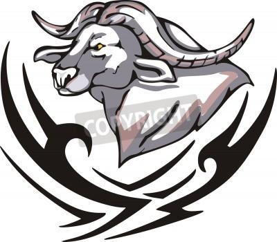 Tattoo with buffalo head. Color vector illustration.