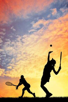 Canvas print Tennis at sunset