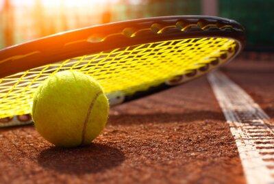 Canvas print tennis ball on a tennis court
