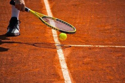 Canvas print Tennis racket and yellow ball