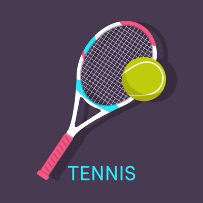 Canvas print Tennis, racket, ball brown background
