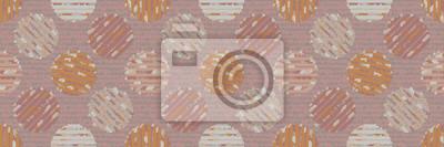 Textured polka dot circle seamless border pattern. Japanese style homespun textile background. Soft pink neutral tones. Ribbon trim washi tape for asian zakka craft, home decor, packaging.