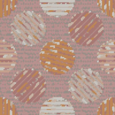 Textured polka dot circle seamless pattern. Japanese style homespun textile background. Soft pink neutral tones. All over print for asian zakka craft, home decor, packaging. Vector swatch repeat.