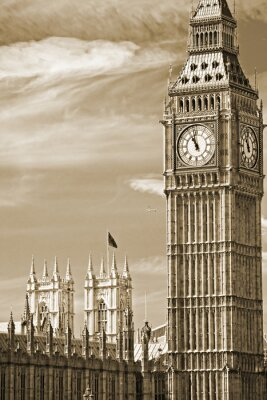Canvas print The Big Ben, the House of Parliament and the Westminster Bridge