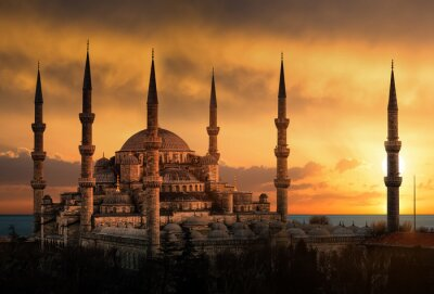 Canvas print The Blue Mosque in Istanbul during sunset