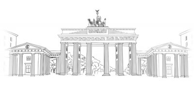 Canvas print The Brandenburg gate. Berlin arch symbol. Hand drawn pencil sketch vector illustration isolated on white background