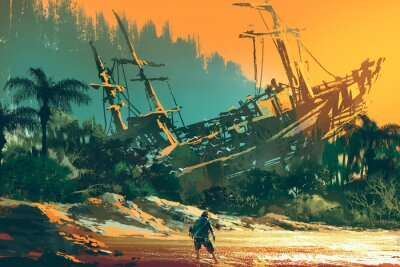 Canvas print the castaway man standing on island beach with abandoned boat at sunset, illustration painting