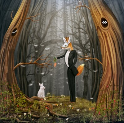 Canvas print The fox and hare fly by multi-coloured balloons