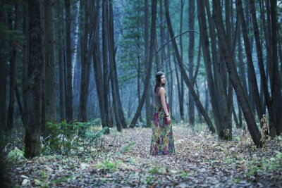 Canvas print The girl in a dark forest