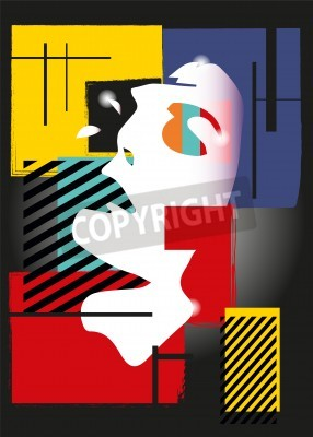 Canvas print The girl in style of a cubism. Squares, paints, black background