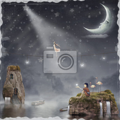 Canvas print The girl walking on a rope in the night sky