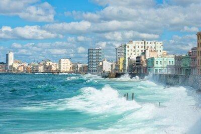 Canvas print The Havana skyline with big waves on the sea