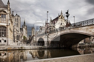 Canvas print The historical city core of Ghent, Belgium