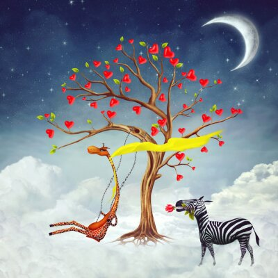 Canvas print The illustration shows romantic relations between a giraffe and a zebra