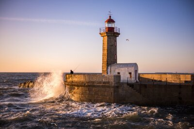 Canvas print The lighthouse of Porto at Sunset