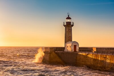 Canvas print The lighthouse of Porto, Portugal