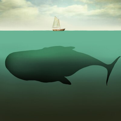 Canvas print The little boat and the giant whale