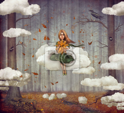 Canvas print The little  girl sits on a cloud  in   autumn forest. Beautiful nature background
