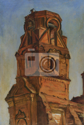 The old bell tower of the ruined Church. Oil painting