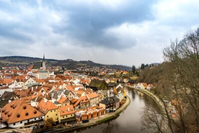 Canvas print The old town view from cesky Krumlov castle in cloudy day