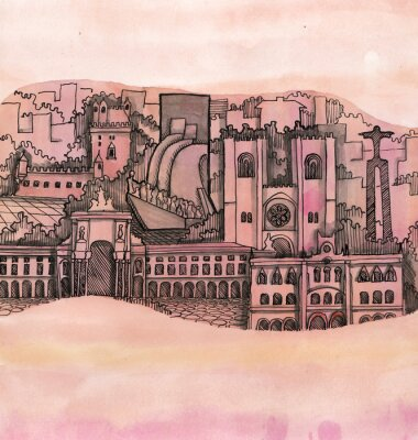 Canvas print the panoramic view of lisbon city  hand drawn on the wallpaper isolated on the color background