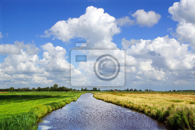 The picturesque autumn rural landscape with river.