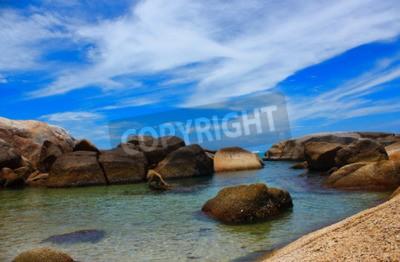 Canvas print The sea beautiful beachand clear water fresh air Swimming cold sea.