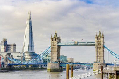 Canvas print The Shard and Tower Bridge on Thames river in London, UK