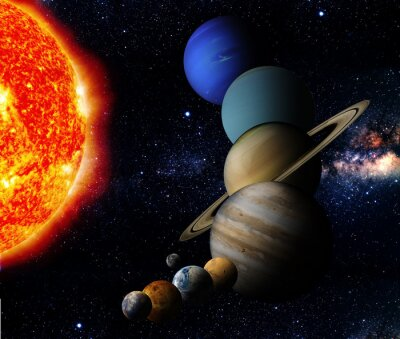 Canvas print The sun and nine planets of our system orbiting