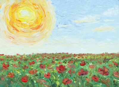 Canvas print The sun over poppy field, painting, oil on canvas