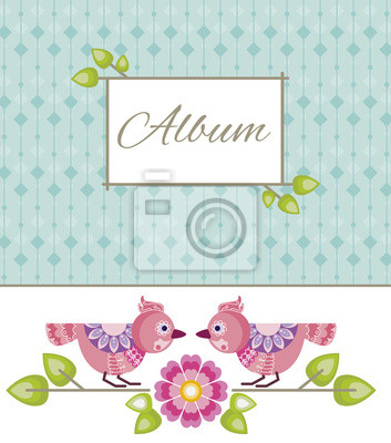 Canvas print The template for the album with decorarive birds, flowers and le