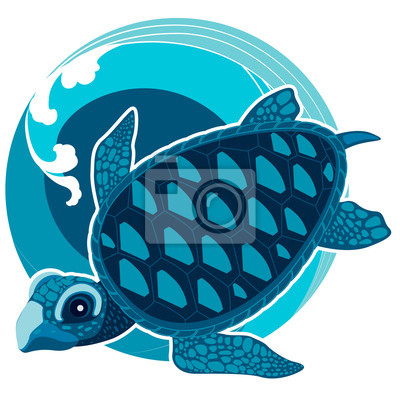 Canvas print The turtle on the background of sea waves. The symbol of Feng Sh