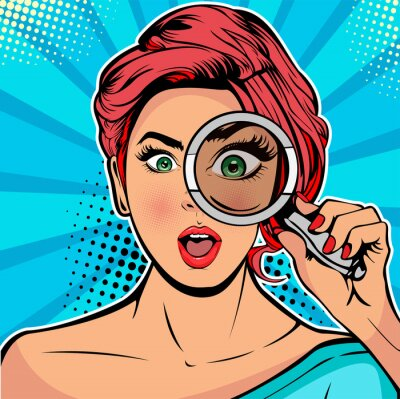 Canvas print The woman is a detective looking through magnifying glass search. Vector illustration in pop art retro comics style
