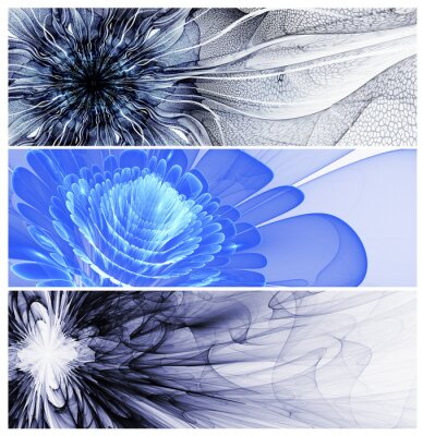 Canvas print Three abstract flower baners