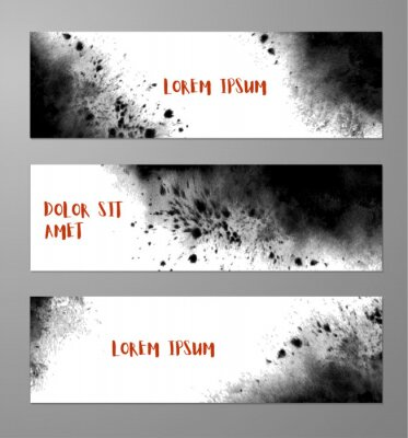 Three banners with abstract black ink wash painting and place for your text. Vector grunge illustration.