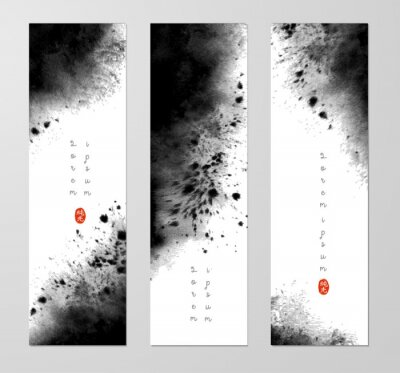 Three banners with abstract black ink wash painting and place for your text. Vector grunge illustration. Hieroglyph - pure light.