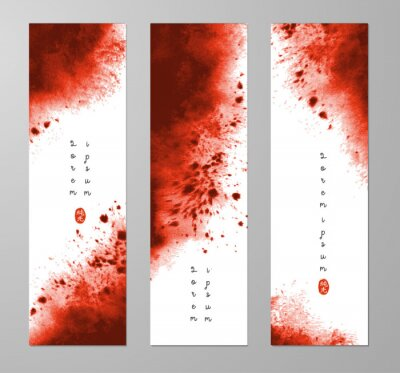 Three banners with abstract dark red ink wash painting and place for your text. Vector grunge illustration. Hieroglyph - pure light.