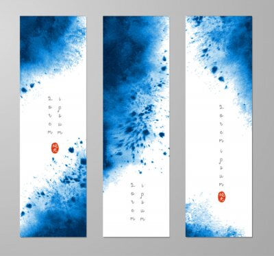 Three banners with abstract vibrant blue ink wash painting and place for your text. Vector grunge illustration. Hieroglyph - pure light.