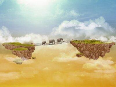 Canvas print Three elephants. Illustration.