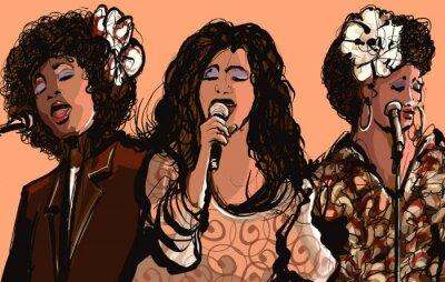 Canvas print Three women jazz singers
